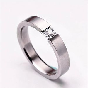 Size 9 Charming Stainless Steel Rhinestone Ring